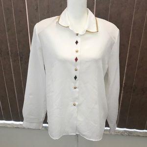 Vintage - Lucia White Button Long Sleeve Blouse
